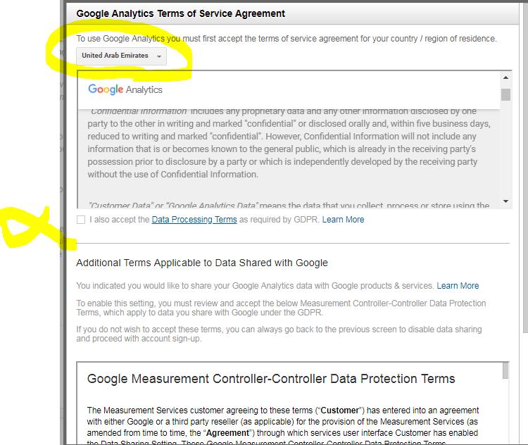 صفحه موافقت با قوانین و شرایط گوگل آنالیز