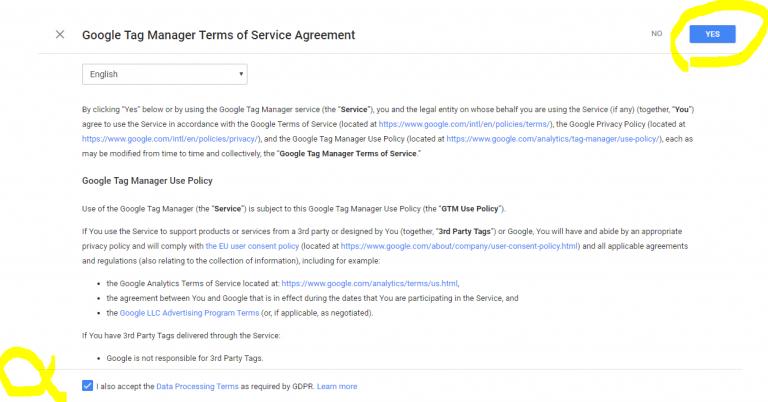 صفحه موافقت با قوانین گوگل تگ منیجر