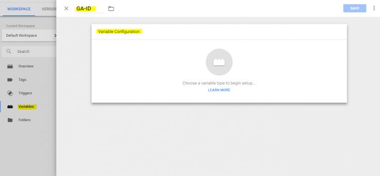 تعریف متغییر در گوگل تگ منیجر