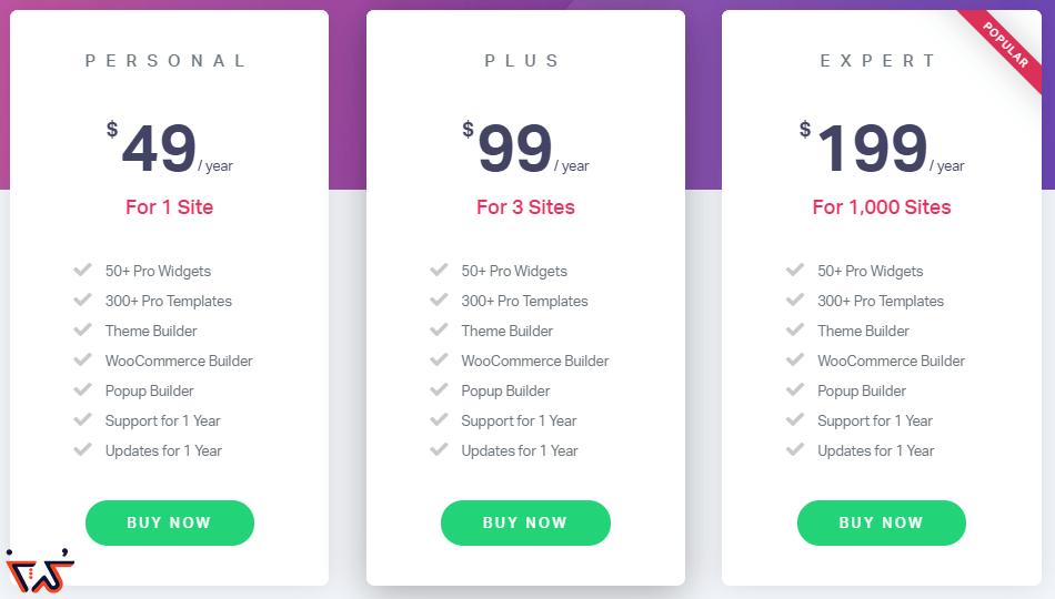 قیمت های مختلف المنتور در سایت Elementor